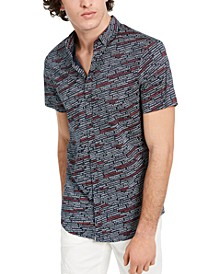 Men's Slim-Fit Multicolor Logo Patterned Short Sleeve Shirt