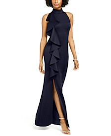 Ruffled-Front Halter Gown