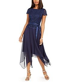 Glitter Lace Top Handkerchief-Hem Dress