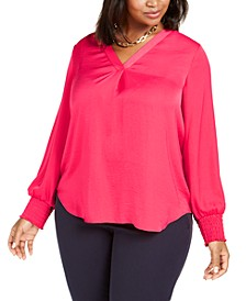 Plus Size V-Neck Smocked-Sleeve Swing Blouse, Created for Macy's