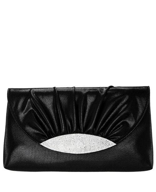 Nina Kerri Ruched Satin Crystal Embellished Flap Clutch