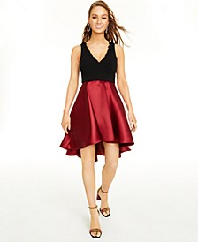 Juniors' Colorblocked Satin Fit & Flare Dress
