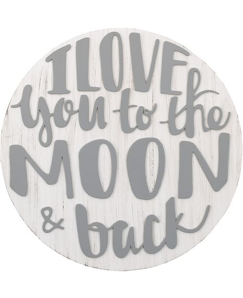"""NoJo NoJo """"I Love You to the Moon and Back"""" Wood Nursery Wall Décor"""
