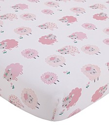 NoJo Farm Chic Little Lambs Fitted Crib Sheet