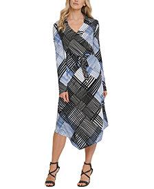 DKNY Printed Faux-Wrap Dress