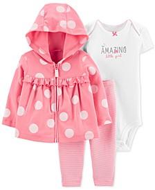 Baby Girls 3-Pc. Cotton Dot-Print Hoodie, Bodysuit & Pants Set