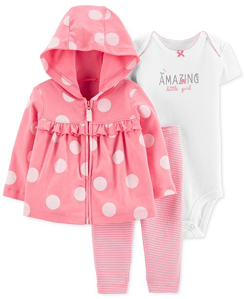 Carter's Baby Girls 3-Pc. Cotton Dot-Print Hoodie, Bodysuit & Pants Set