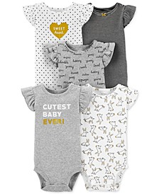 Baby Girls 5-Pk. Printed Cotton Bodysuits