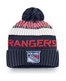 New York Rangers Authentic Pro Rinkside Goalie Pom Knit Hat