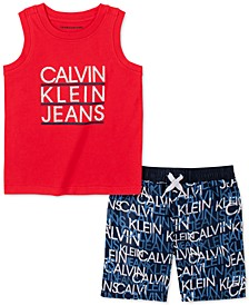 Little Boys 2-Pc. Logo Tank Top & Swim Shorts Set