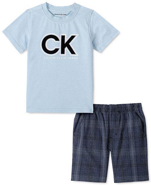Calvin Klein Toddler Boys 2-Pc. Logo T-Shirt & Yarn-Dyed Plaid Shorts Set