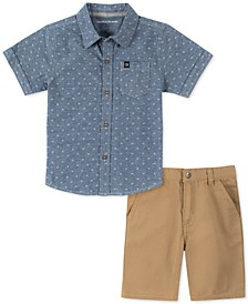 Little Boys 2-Pc. Logo-Print Chambray Shirt & Twill Shorts Set