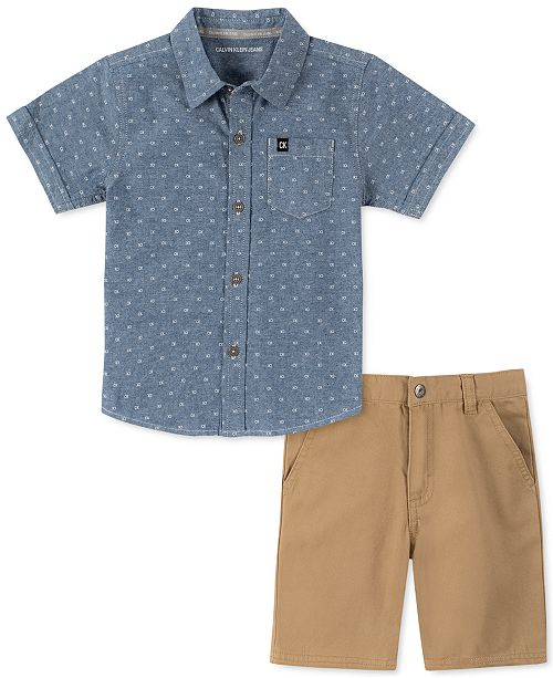 Calvin Klein Toddler Boys 2-Pc. Logo-Print Chambray Shirt & Twill Shorts Set