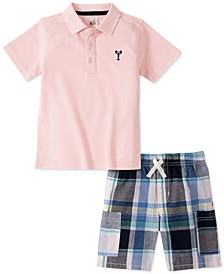Toddler Boys 2-Pc. Pink Embroidered Piqué Polo Shirt & Navy/Pink Yarn-Dyed Plaid Shorts Set