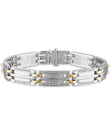 "Men's 1/5 Carat Diamond 8 1/2"" Bracelet  in 10k gold and Sterling Silver"