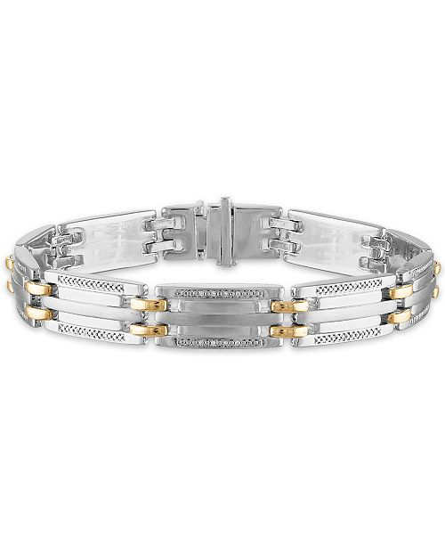 "Macy's Men's 1/5 Carat Diamond 8 1/2"" Bracelet  in 10k gold and Sterling Silver"
