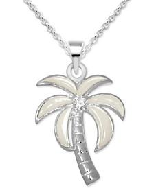 "Crystal & Enamel Palm Tree Pendant Necklace in Fine Silver-Plate, 16"" + 2"" extender"