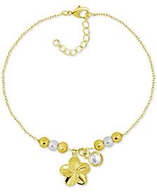 Flower & Crystal Charm Ankle Bracelet in Gold-Plate