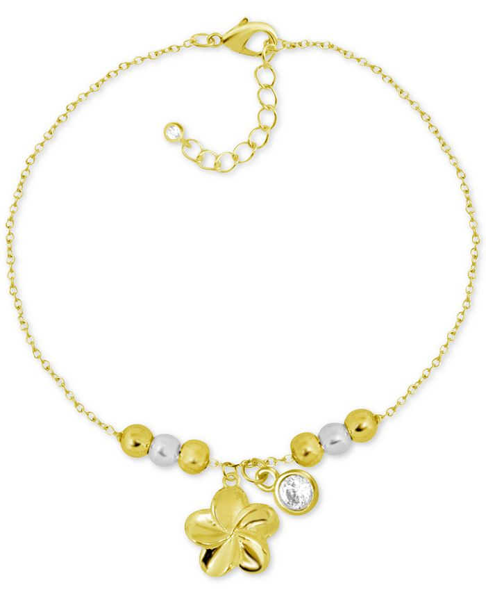 Kona Bay - Flower & Crystal Charm Ankle Bracelet in Gold-Plate