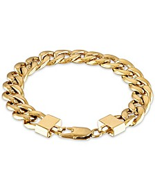 "Men's Cuban Link (11-3/4mm) 8 1/2"" Chain Bracelet in 14k gold over stainless steel"