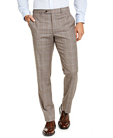 Michael Kors Men's Classic-Fit Airsoft Stretch Brown Windowpane Suit Pants