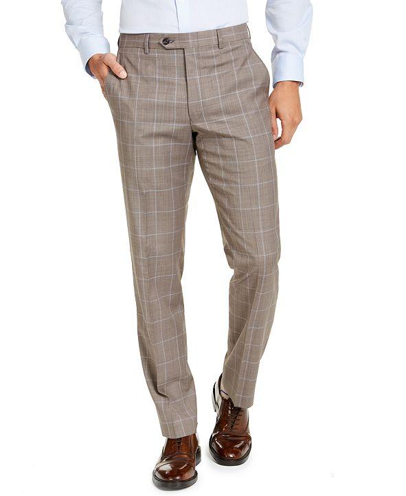 Michael Kors Men's Classic-Fit Airsoft Stretch Brown Windowpane Suit Pants