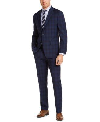 Men's Classic-Fit Airsoft Stretch Navy Blue Plaid Suit Jacket