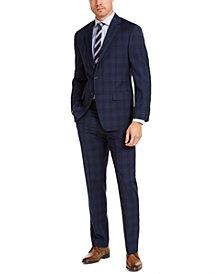 Michael Kors Men's Classic-Fit Airsoft Stretch Navy Blue Plaid Suit Separates