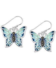 Genuine Swarovski Marcasite & Multicolor Crystal Butterfly Drop Earrings in Fine Silver-Plate