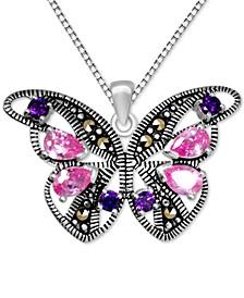 "Genuine Swarovski Marcasite & Multicolor Crystal Butterfly 18"" Pendant Necklace in Fine Silver-Plate"