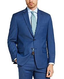 Men's Classic-Fit Airsoft Stretch Blue Tic Suit Jacket