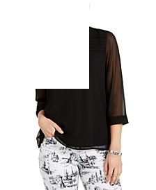 Split-Neck Sheer-Sleeve Top, Created for Macy's