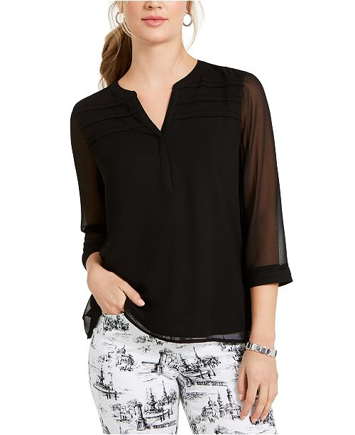 Charter Club Split-Neck Sheer-Sleeve Top, Created For Macy's
