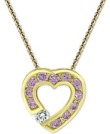 """Cubic Zirconia Open Heart Slide 18"""" Pendant Necklace in 18k Gold-Plated Sterling Silver"""
