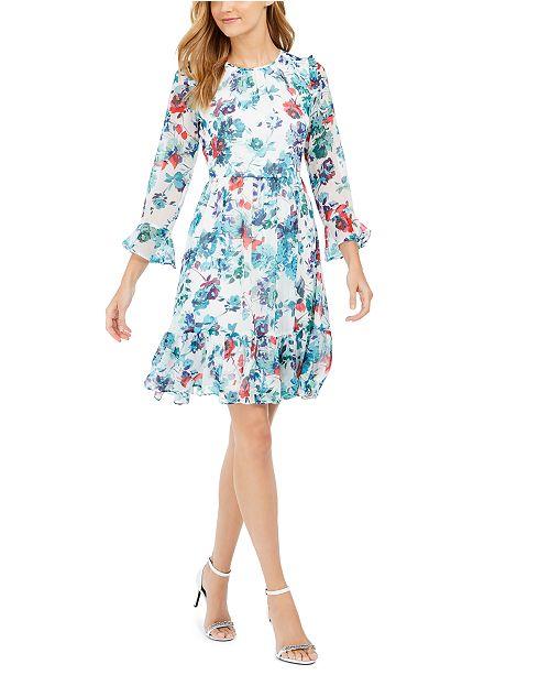 Calvin Klein Petite Printed Bell-Sleeve A-Line Dress