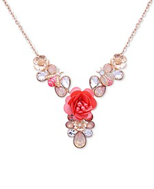 "Crystal Flower & Bee Statement Necklace, 16"" + 2"" extender"