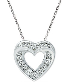 "Cubic Zirconia Open Heart Slide 18"" Pendant Necklace in Sterling Silver"