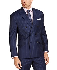 Men's Classic-Fit UltraFlex Stretch Navy Blue Stripe Double-Breasted Suit Jacket