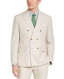 Men's Slim-Fit Tan Solid Double-Breasted Suit Jacket, Created for Macy's