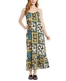 Patchwork-Print Ruffle-Hem Dress