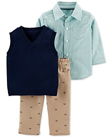 Baby Boys 3-Pc. Cotton Striped Shirt, Vest & Boat-Print Pants Set