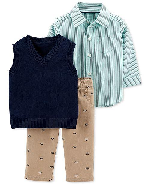 Carter's Baby Boys 3-Pc. Cotton Striped Shirt, Vest & Boat-Print Pants Set