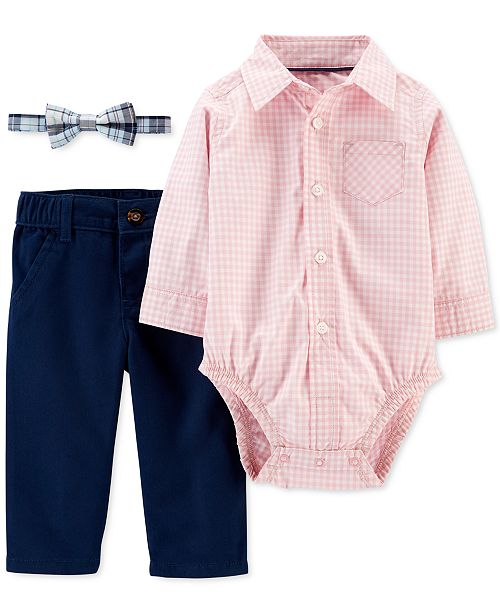 Carter's Baby Boys 3-Pc. Cotton Bowtie, Gingham-Print Bodysuit & Pants Set
