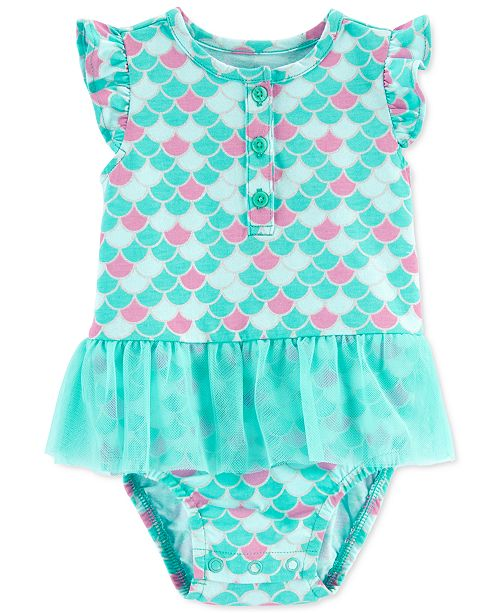 Carter's Baby Girls Mermaid-Print Skirted Sunsuit
