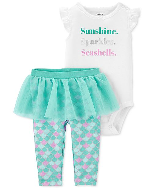 Carter's Baby Girls 2-Pc. Seashells Bodysuit & Tutu Pants Set