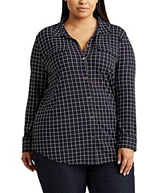 Plus Size Check-Print Jersey Shirt