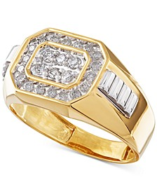 Men's Diamond Rectangle Ring in 14k Gold (1/2 ct. t.w.)