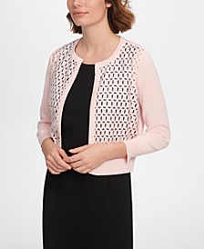 Three-Quarter-Sleeve Lace Front Cardigan