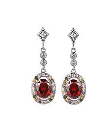 Silver-Tone Ruby Accent Drop Earrings
