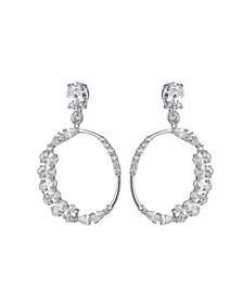Silver-Tone Cluster Round Hoop Earrings